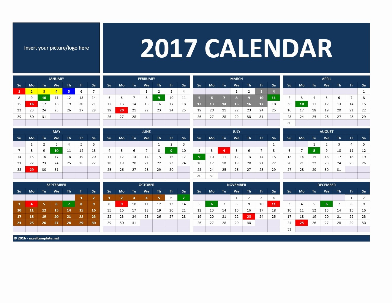 2017 Yearly Calendar Excel Template Best Of 2017 and 2018 Calendars