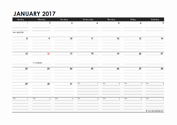 2017 Yearly Calendar Excel Template Best Of 2017 Monthly Calendar Excel Template Free Printable