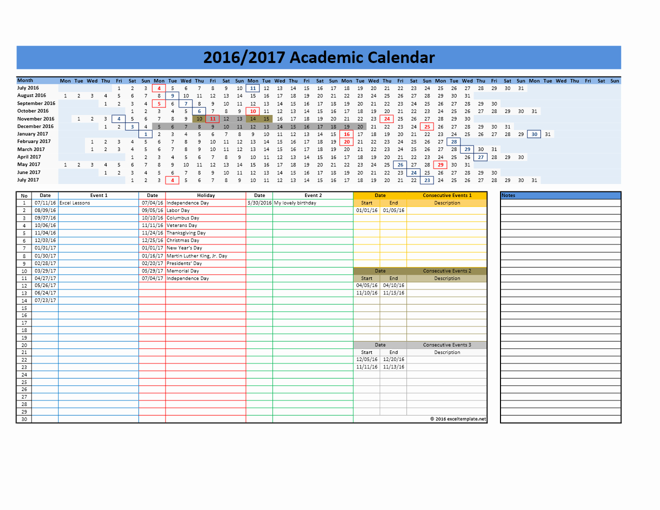 2017 Yearly Calendar Excel Template Inspirational 2017 2018 and 2016 2017 School Calendar Templates
