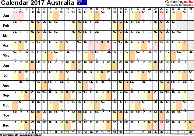 2017 Yearly Calendar Excel Template Inspirational Australia Calendar 2017 Free Printable Excel Templates