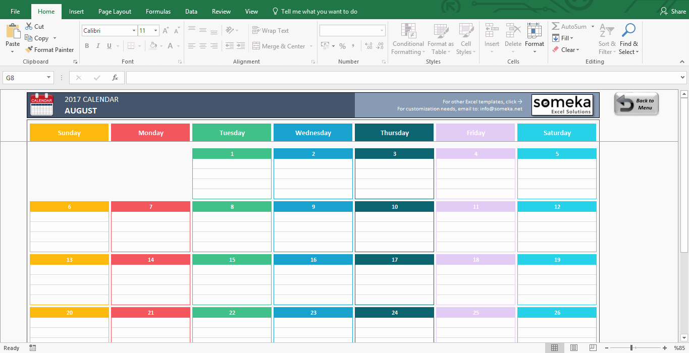 2017 Yearly Calendar Excel Template Inspirational Excel Calendar Template Free Printable Monthly Calendar