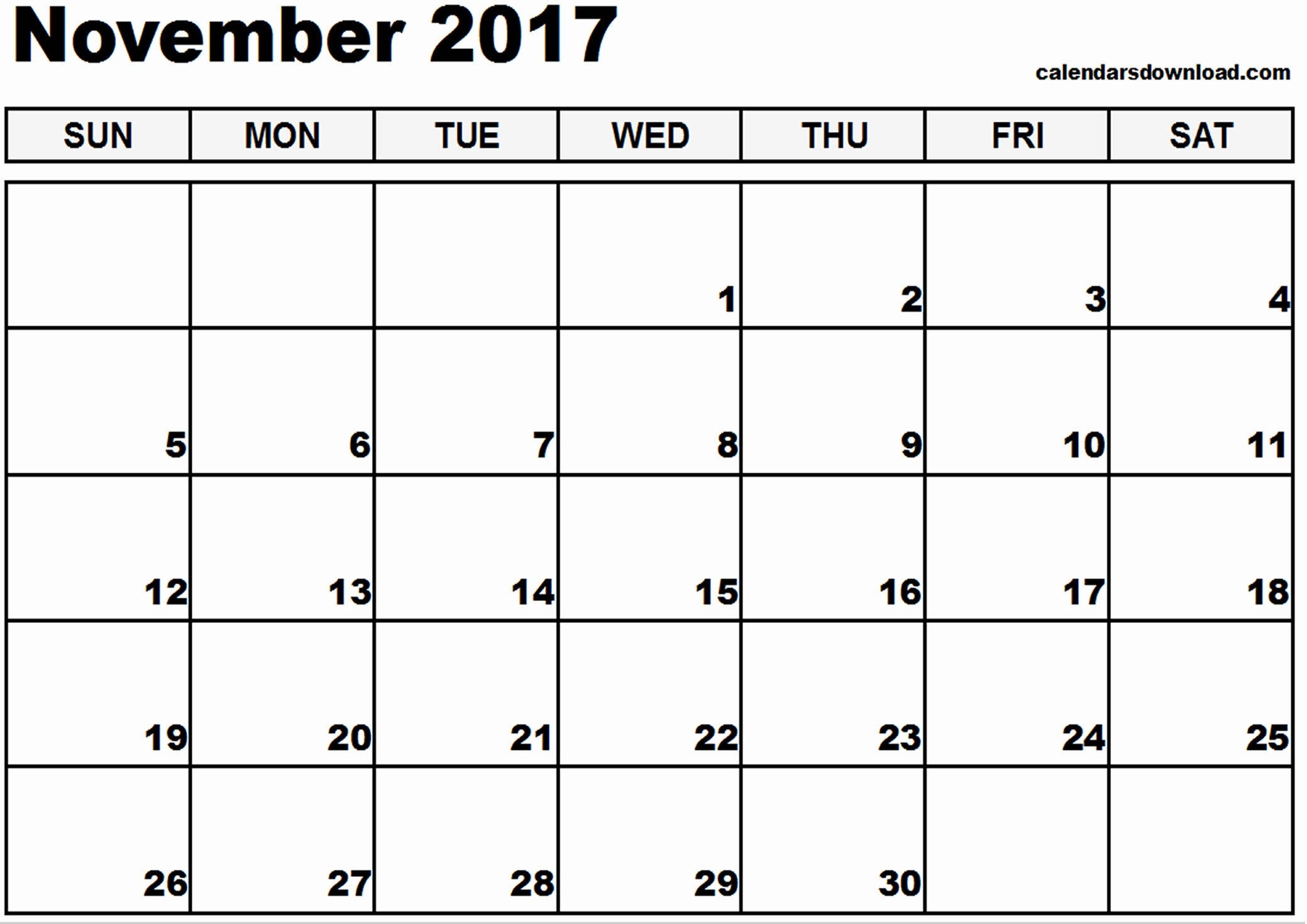 2017 Yearly Calendar Excel Template Inspirational November 2017 Calendar Excel