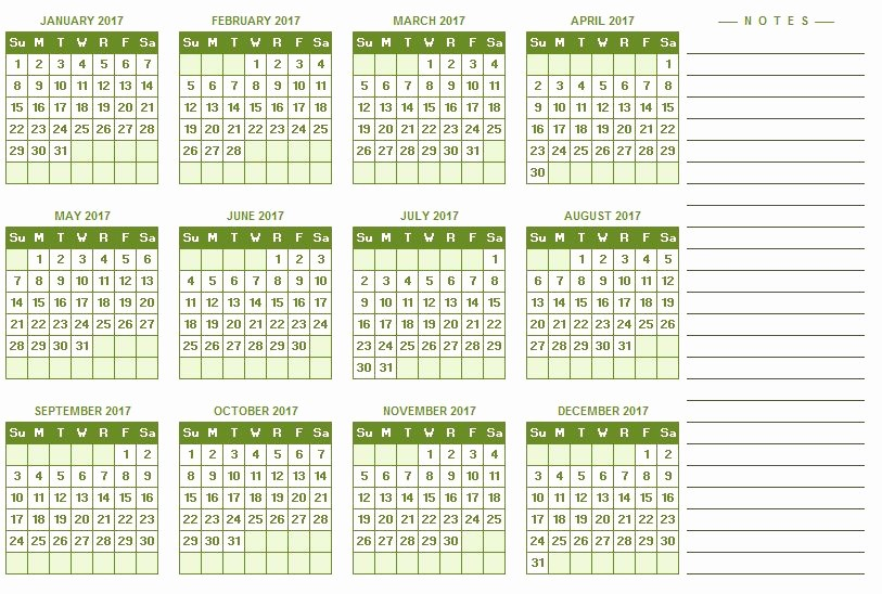 2017 Yearly Calendar Excel Template Luxury 2017 Full Year Calendar