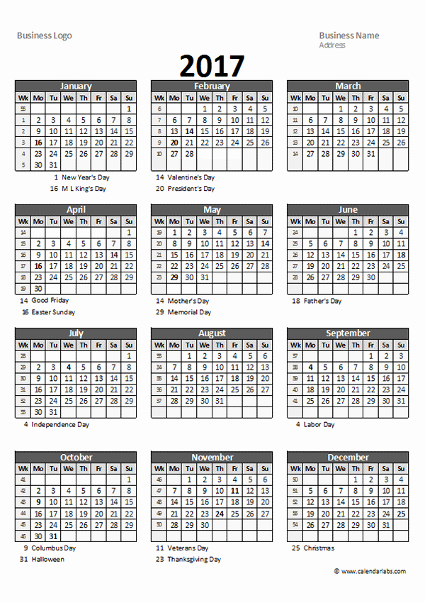 2017 Yearly Calendar Excel Template New 2017 Excel Yearly Business Calendar Free Printable Templates