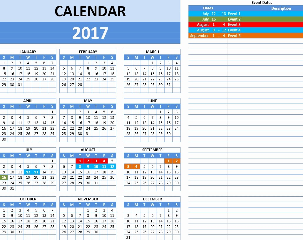 2017 Yearly Calendar Excel Template New Excel Calendar Template 2017
