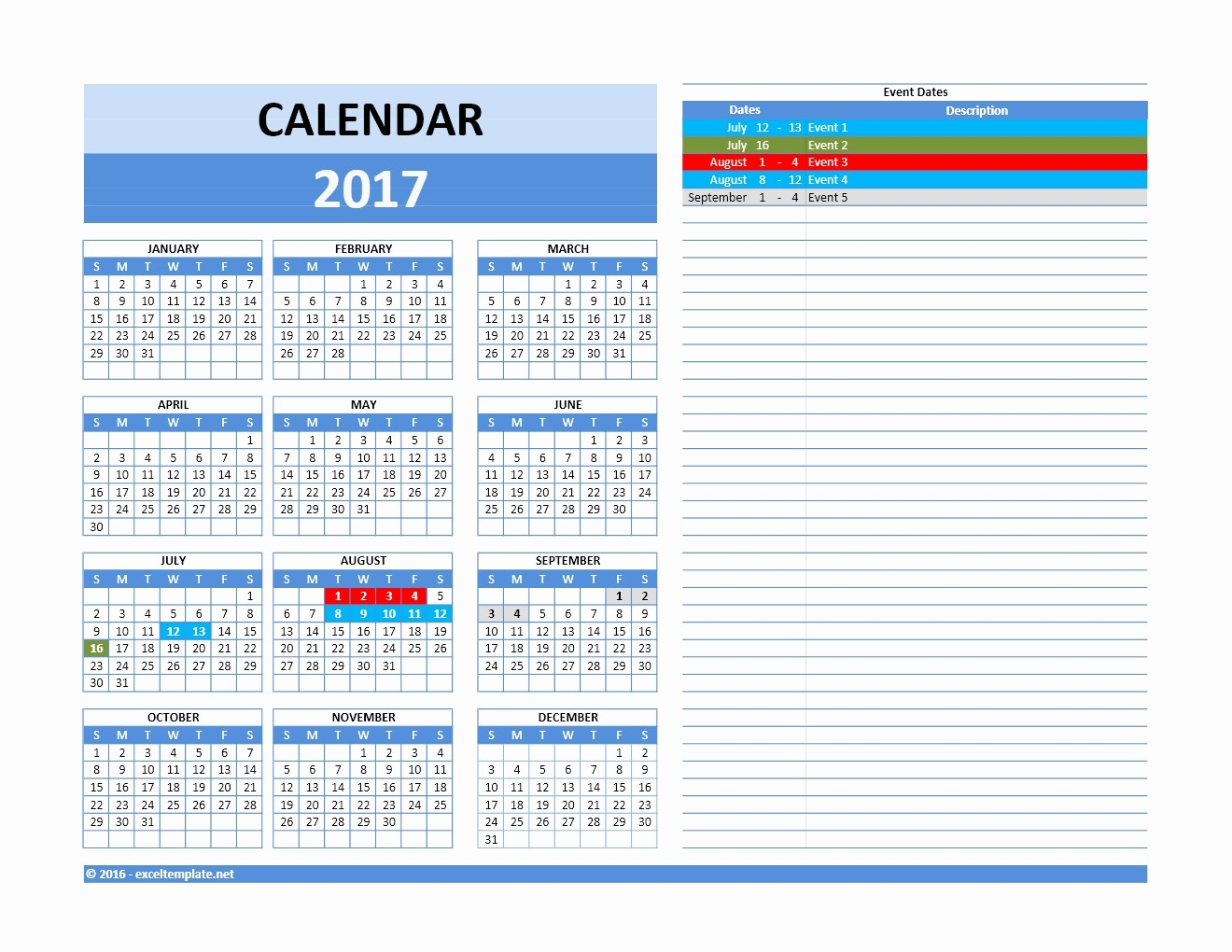 2017 Yearly Calendar Excel Template Unique 2017 and 2018 Calendars