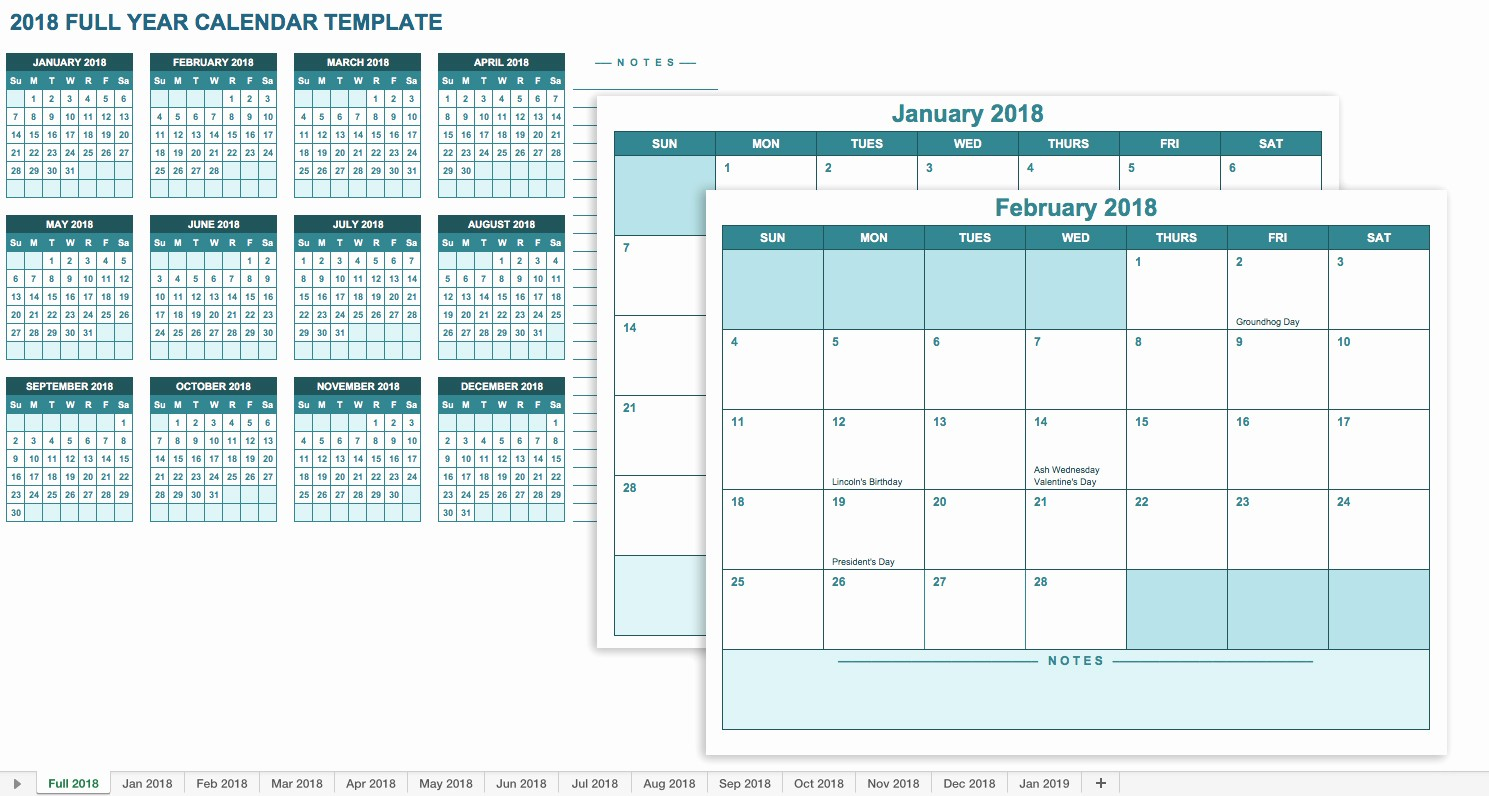 2017 Yearly Calendar Excel Template Unique Monthly & Yearly 2018 Calendar Excel