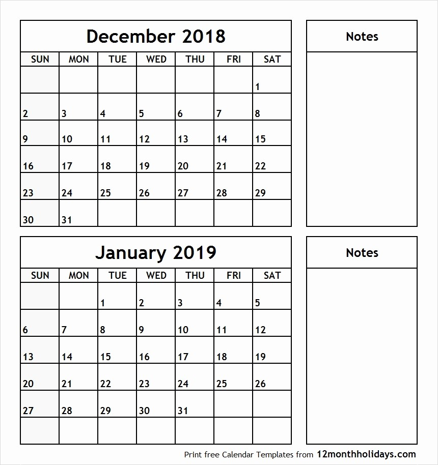 2018 and 2019 Printable Calendar Awesome December and January Calendar Printable December 2018