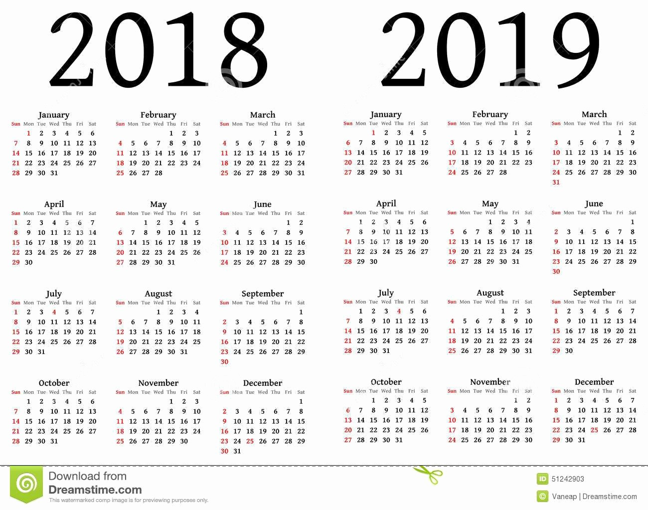 2018 and 2019 Printable Calendar Awesome Julian Calendar 2018 and 2019