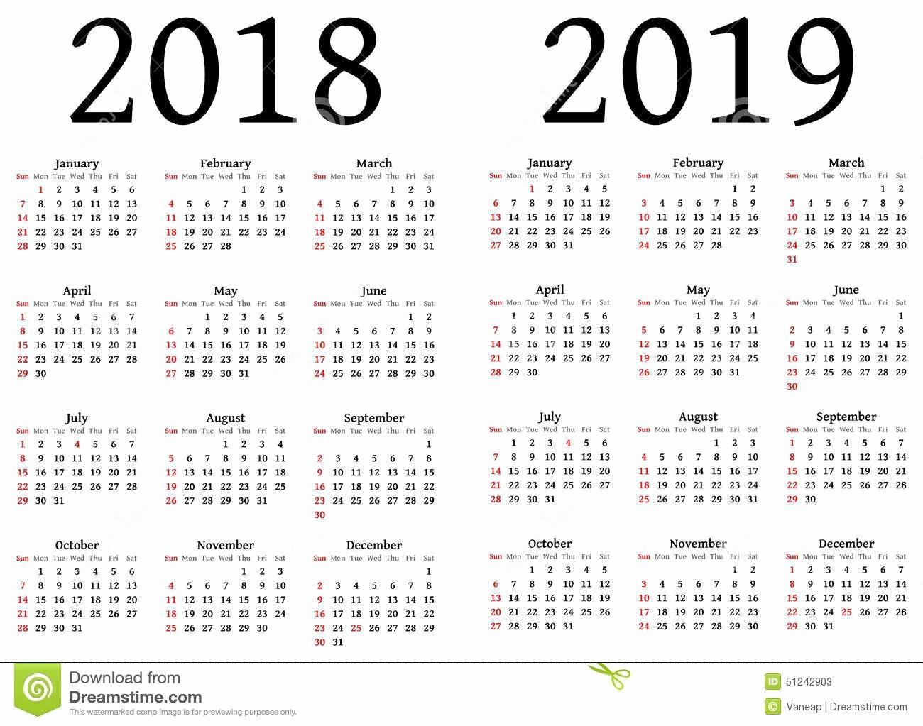 2018 and 2019 Printable Calendar Awesome Julian Calendar 2018 and 2019