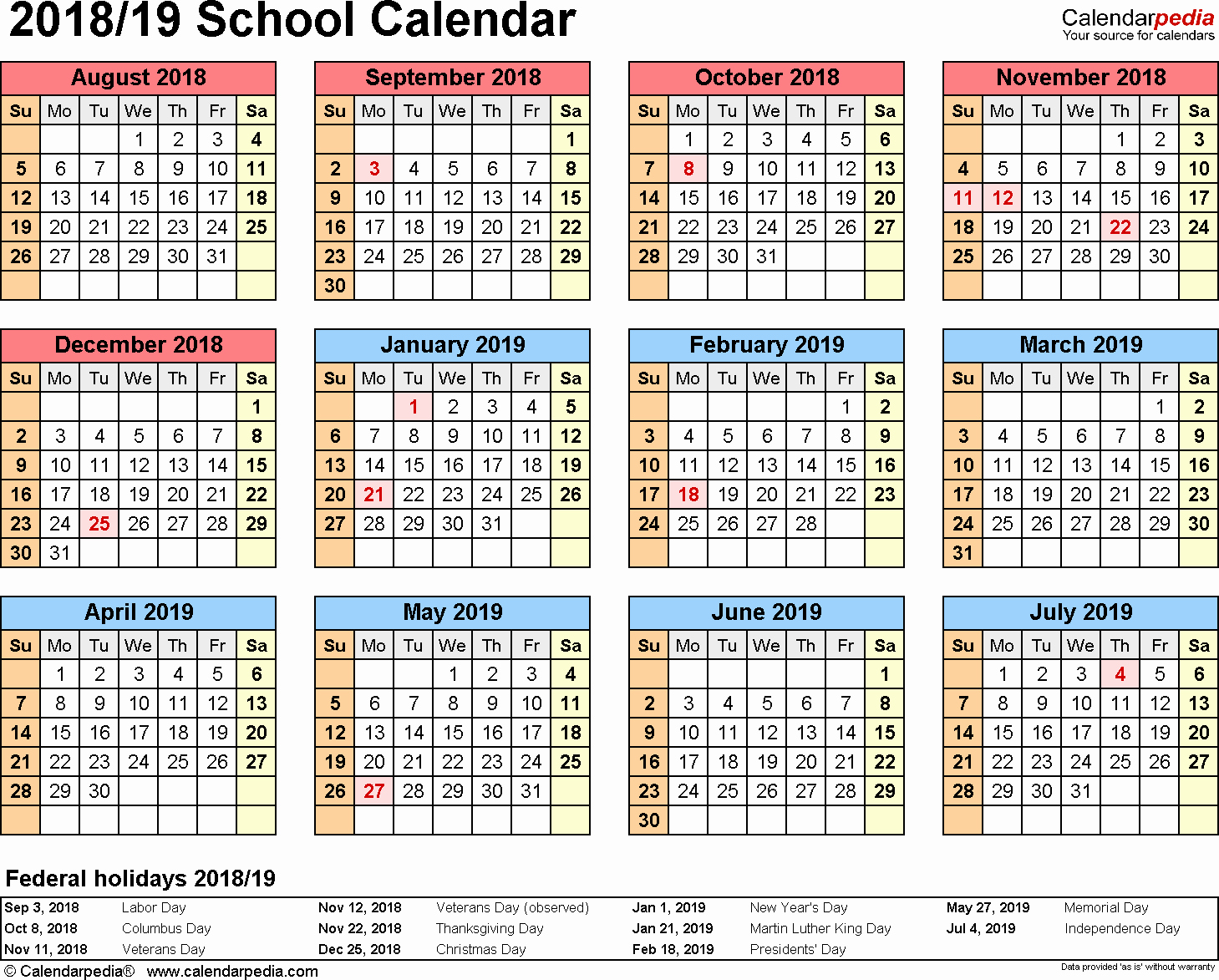 2018 and 2019 Printable Calendar Awesome School Calendars 2018 2019 as Free Printable Word Templates