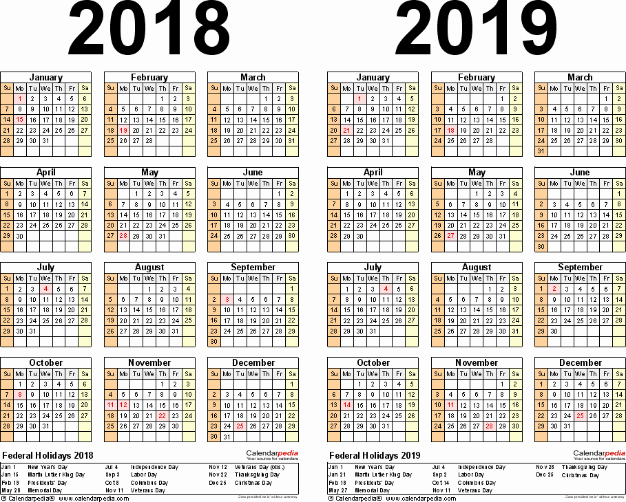 2018 and 2019 Printable Calendar Beautiful 2018 2019 Calendar Free Printable Two Year Word Calendars