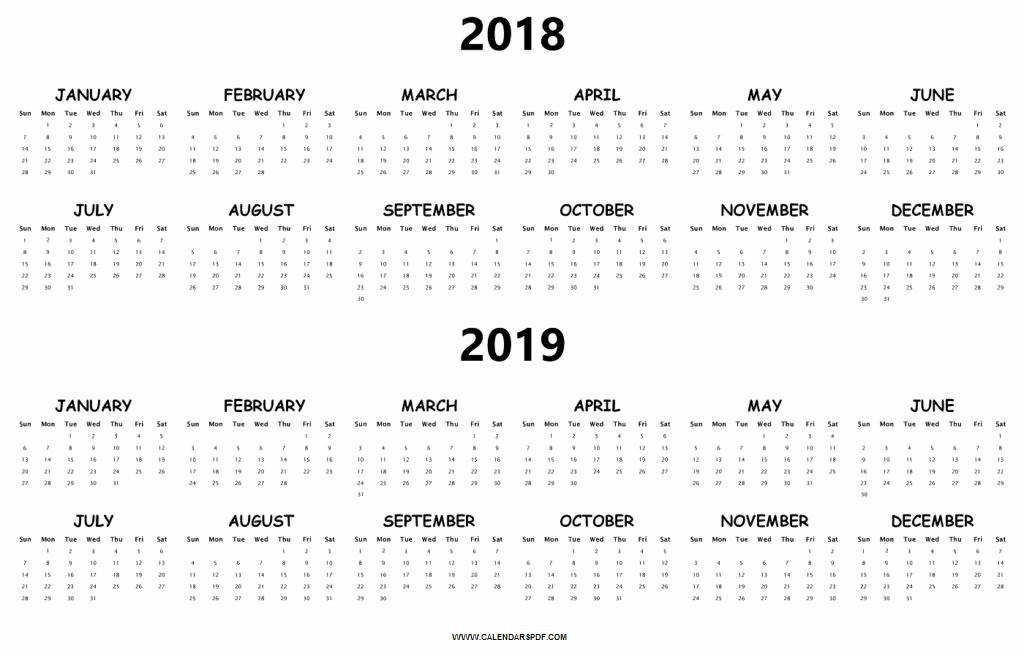 2018 and 2019 Printable Calendar Beautiful Plain Calendar Templates 2018 2019