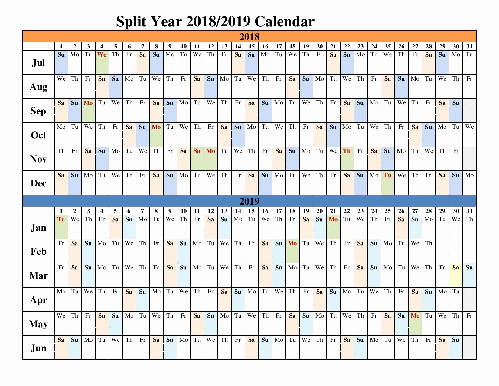2018 and 2019 Printable Calendar Best Of 2018 2019 Split Year Calendars Blank Templates