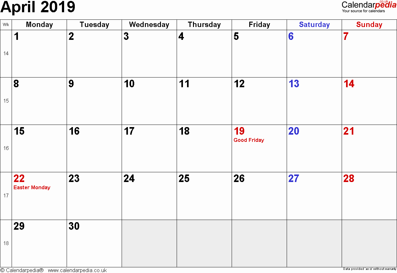 2018 and 2019 Printable Calendar Best Of April 2019 Calendar with Holidays Uk