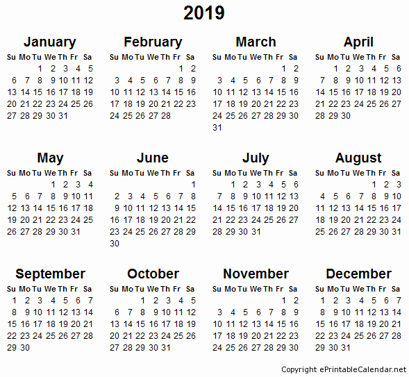 2018 and 2019 Printable Calendar Best Of Printable Calendar 2019