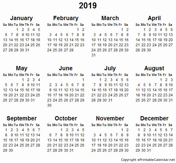 2018 and 2019 Printable Calendar Best Of Printable Calendar 2019