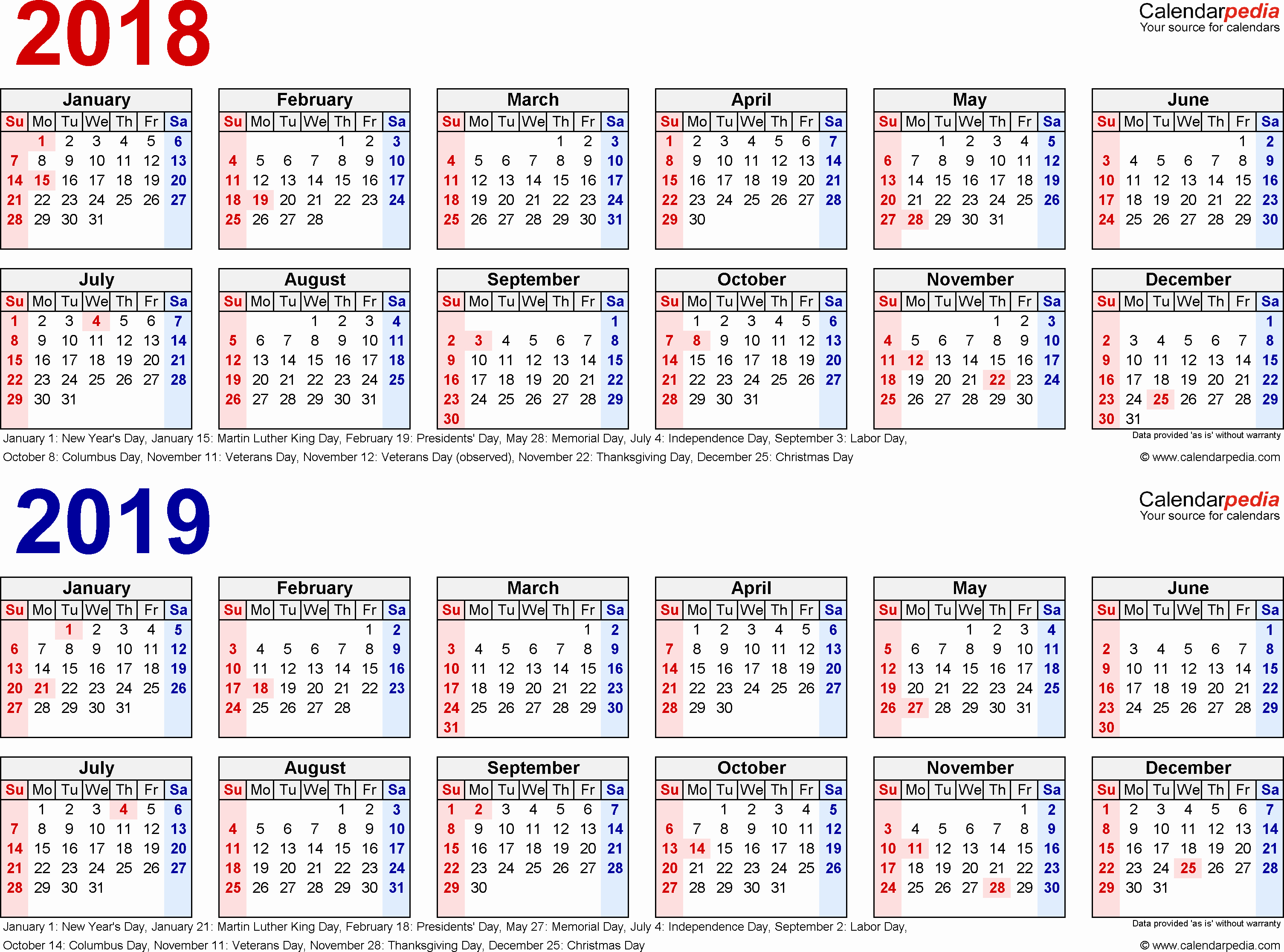 2018 and 2019 Printable Calendar Fresh 2018 2019 Calendar Free Printable Two Year Pdf Calendars