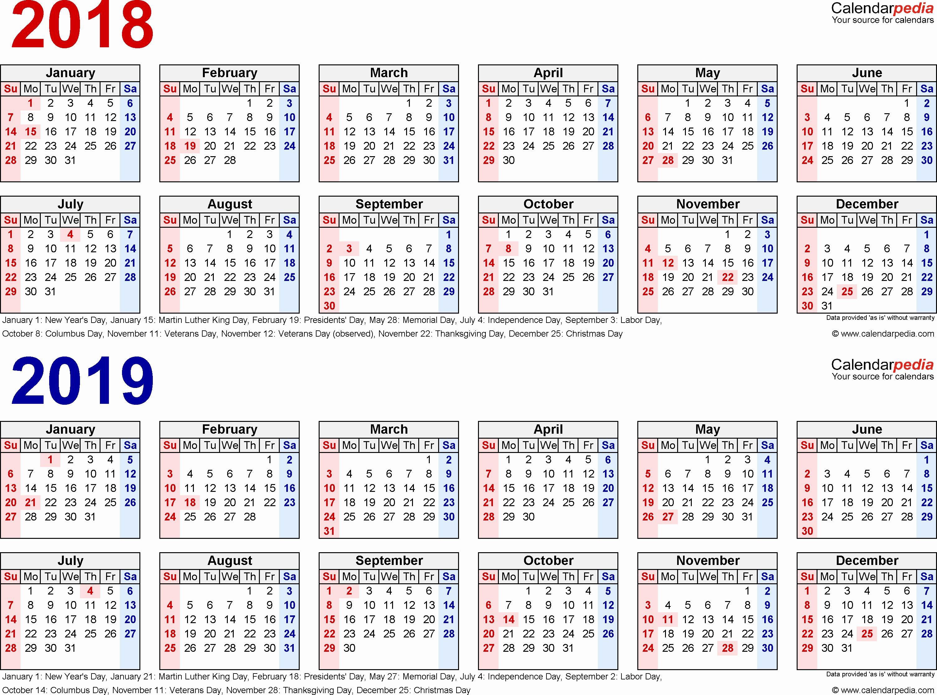 2018 and 2019 Printable Calendar Fresh 2018 2019 Calendar Free Printable Two Year Pdf Calendars
