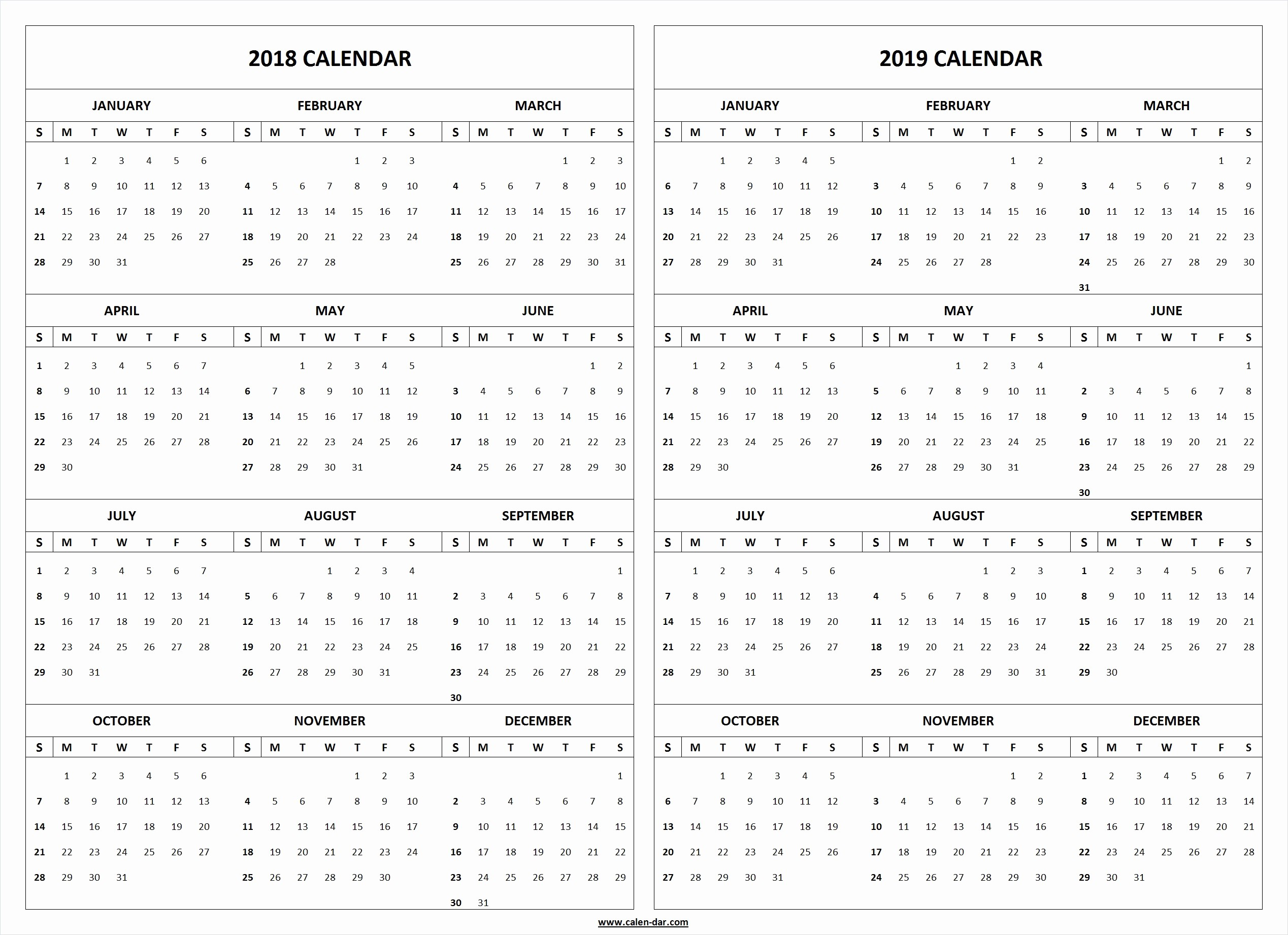 2018 and 2019 Printable Calendar Fresh 2018 2019 Calendar Printable Template