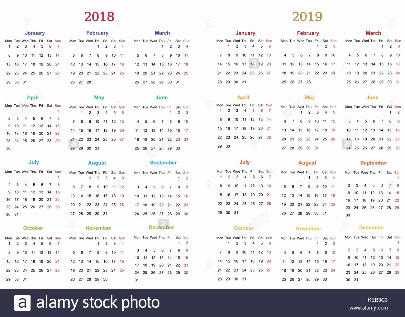 2018 and 2019 Printable Calendar Lovely 2018 Calendar Simple Vector Calendar Stock S & 2018