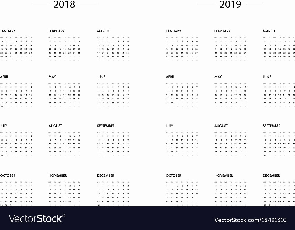 2018 and 2019 Printable Calendar Lovely Calendar 2018 2019 Year Template Royalty Free Vector Image