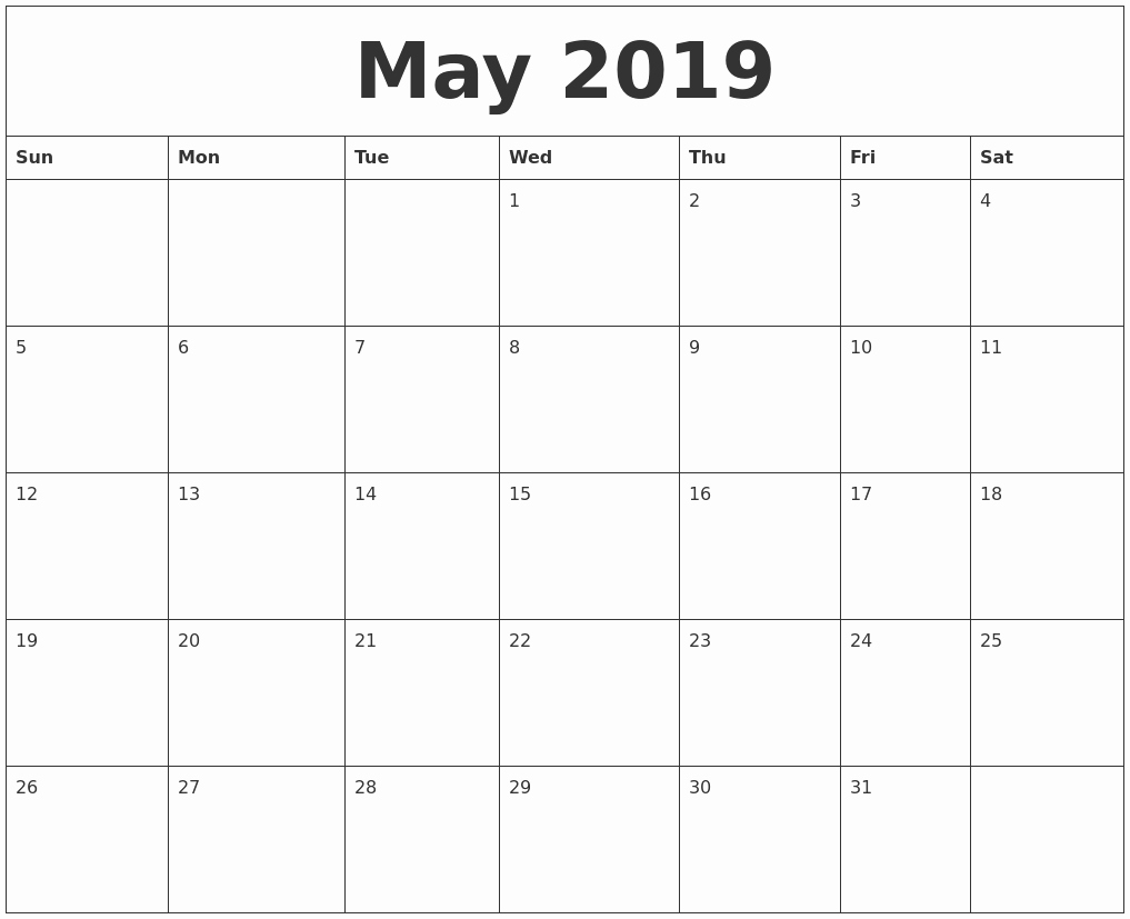 2018 and 2019 Printable Calendar Lovely May 2019 Printable Calendar