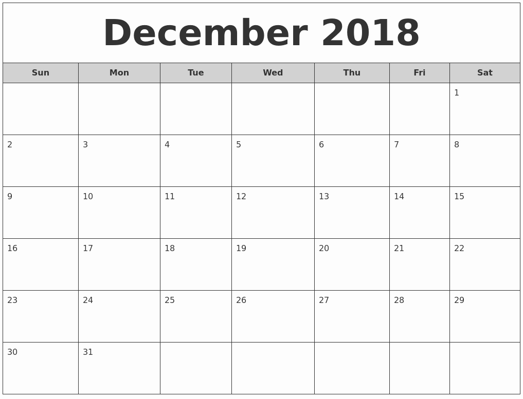 2018 and 2019 Printable Calendar Luxury December and January Calendar 2018 2019