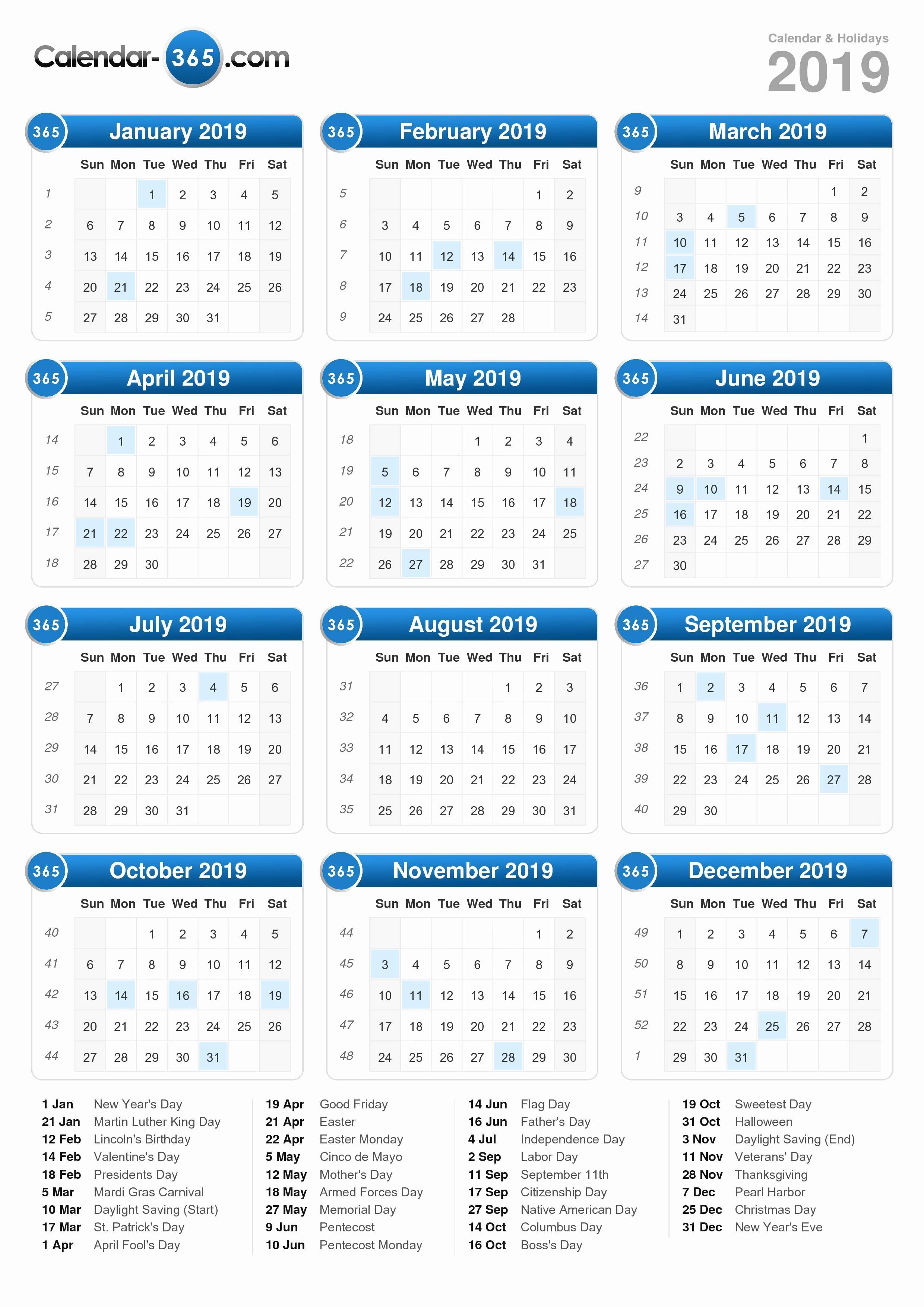 2018 and 2019 Printable Calendar Unique 2019 Calendar
