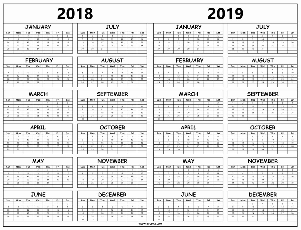 2018 and 2019 Printable Calendar Unique Calendar 2018 2019