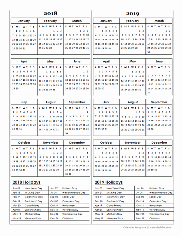 2018 and 2019 Printable Calendar Unique Two Year Calendar Template 2018 and 2019 Free Printable