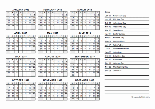 2018 Calendar with Julian Dates Awesome 2018 Yearly Calendar Pdf Free Printable Templates
