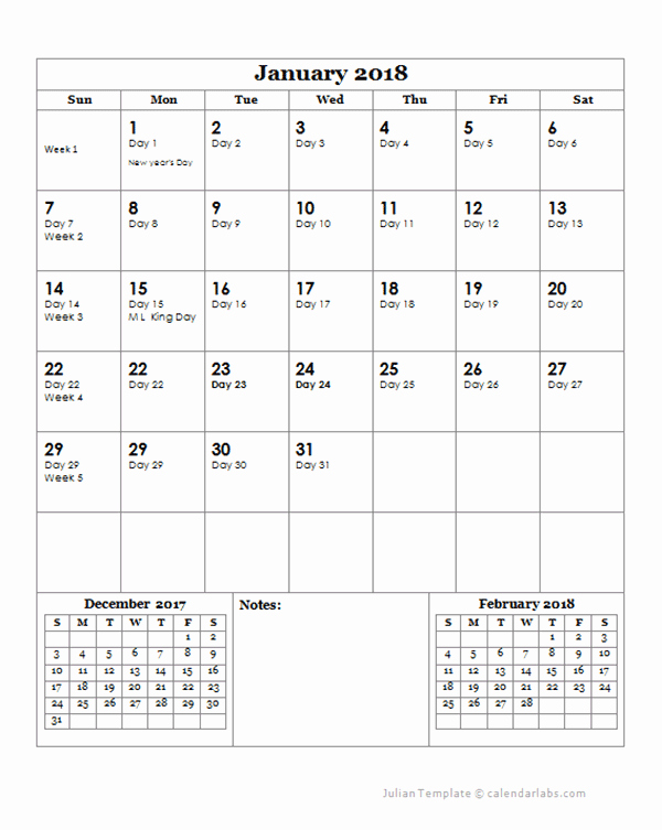 2018 Calendar with Julian Dates Fresh 2018 Julian Day Calendar Free Printable Templates