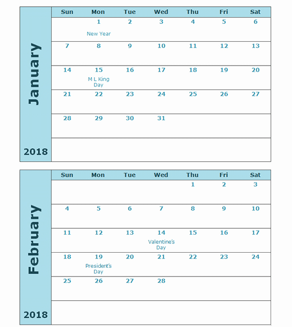 2018 Four Month Calendar Template Awesome 2018 Calendar Template Two Months Per Page Free