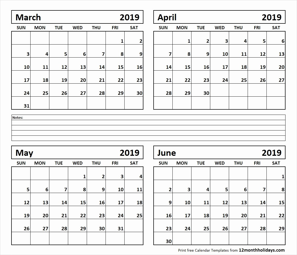 2018 Four Month Calendar Template Awesome Printable Calendar 4 Months Per Page 2019 – Template