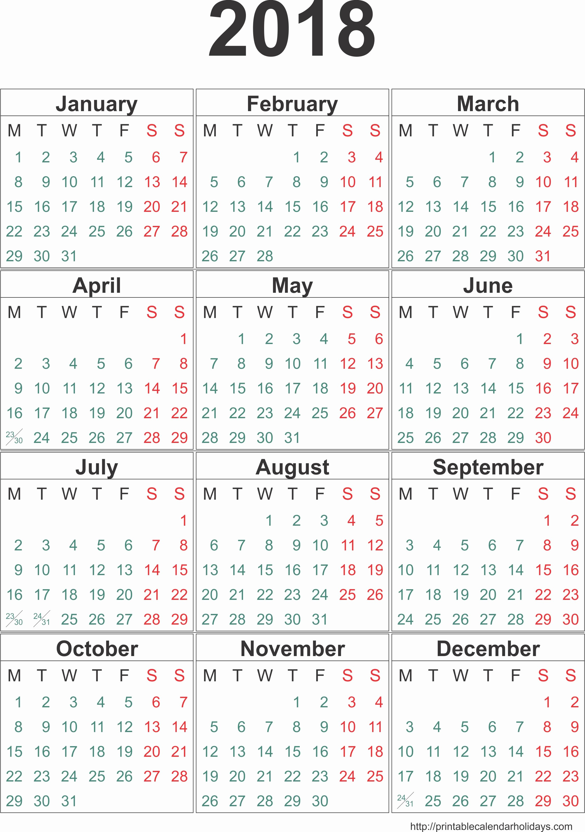 2018 Four Month Calendar Template Awesome Yearly Calendar 2018