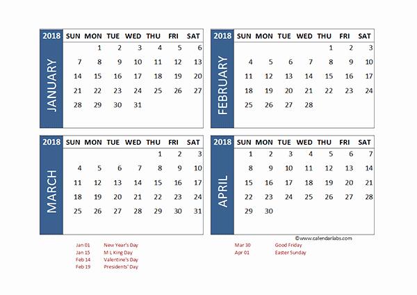 2018 Four Month Calendar Template Beautiful 2018 Excel 4 Month Calendar Template Free Printable
