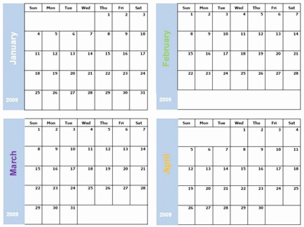 2018 Four Month Calendar Template Elegant 6 Month Calendar 2018 Template Six Months Per Page