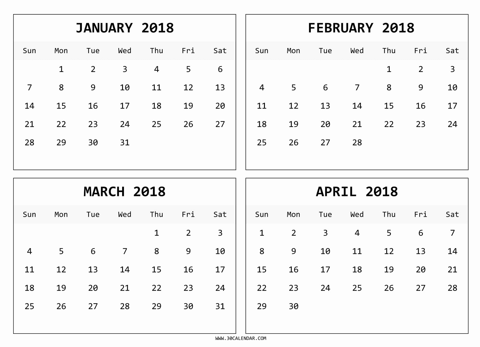 2018 Four Month Calendar Template Fresh Four Month January February March April 2018 Calendar