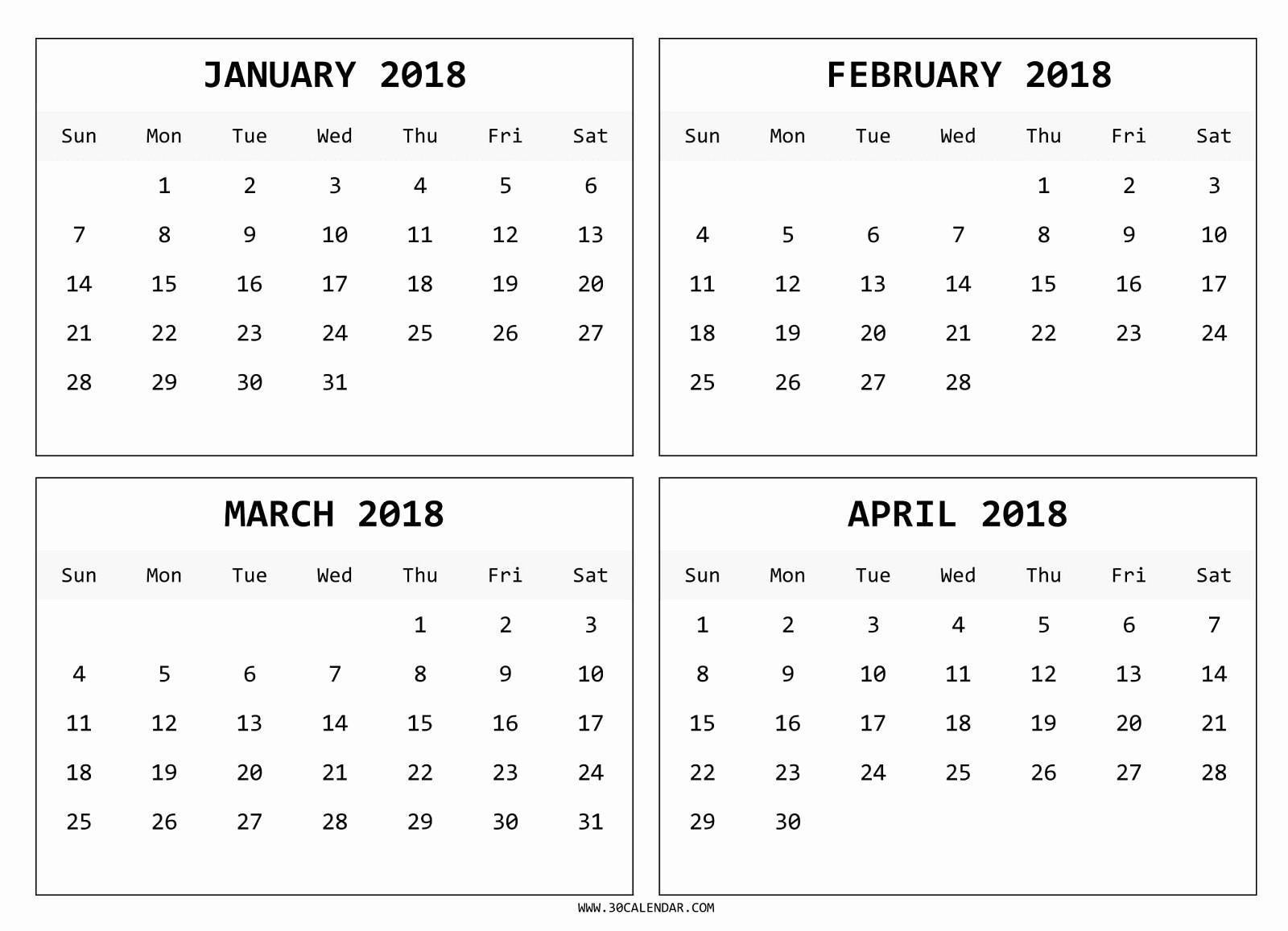 2018 Four Month Calendar Template Fresh Four Month January February March April 2018 Calendar
