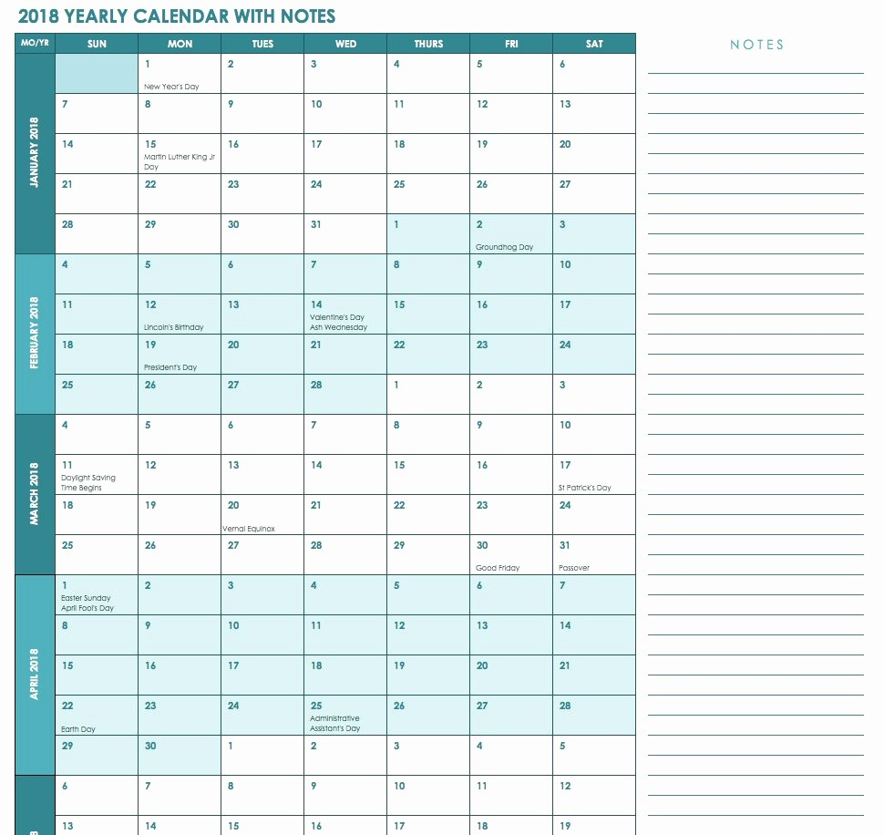 2018 Four Month Calendar Template Fresh Free Excel Calendar Templates