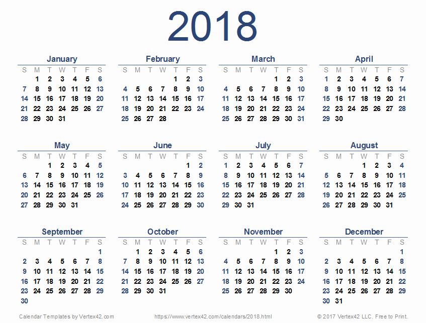 2018 Four Month Calendar Template Inspirational 2018 Calendar Template