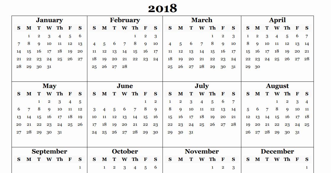 2018 Four Month Calendar Template Inspirational 2018 Yearly Calendar Template Excel Year 2018 Calendar