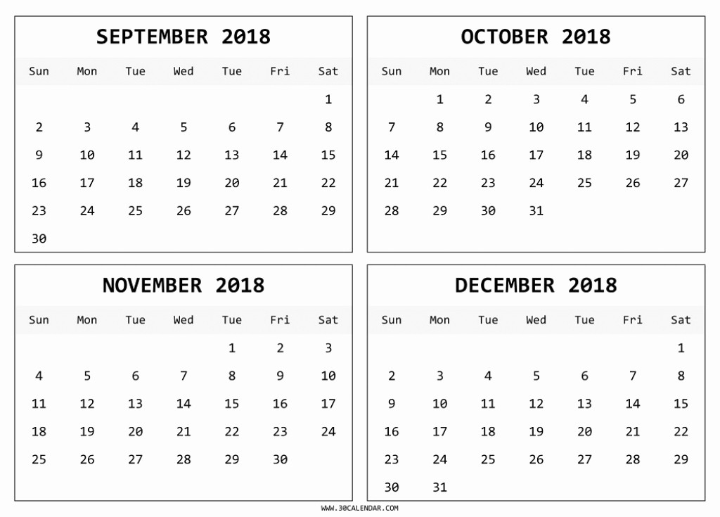 2018 Four Month Calendar Template Inspirational Blank 4 Month Calendar 2018