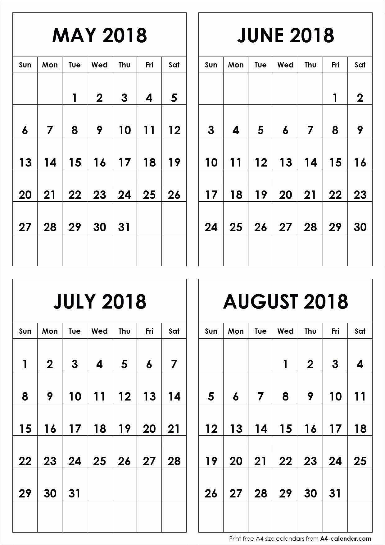 2018 Four Month Calendar Template Inspirational Four Month Calendar Template