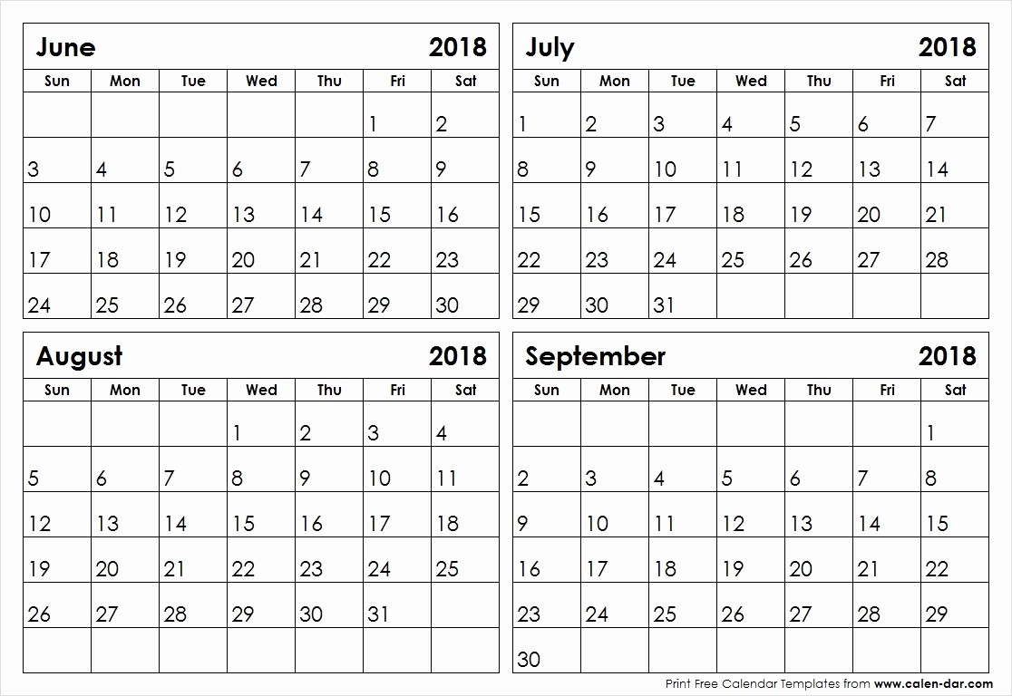 2018 Four Month Calendar Template Inspirational June November Calendar 2018