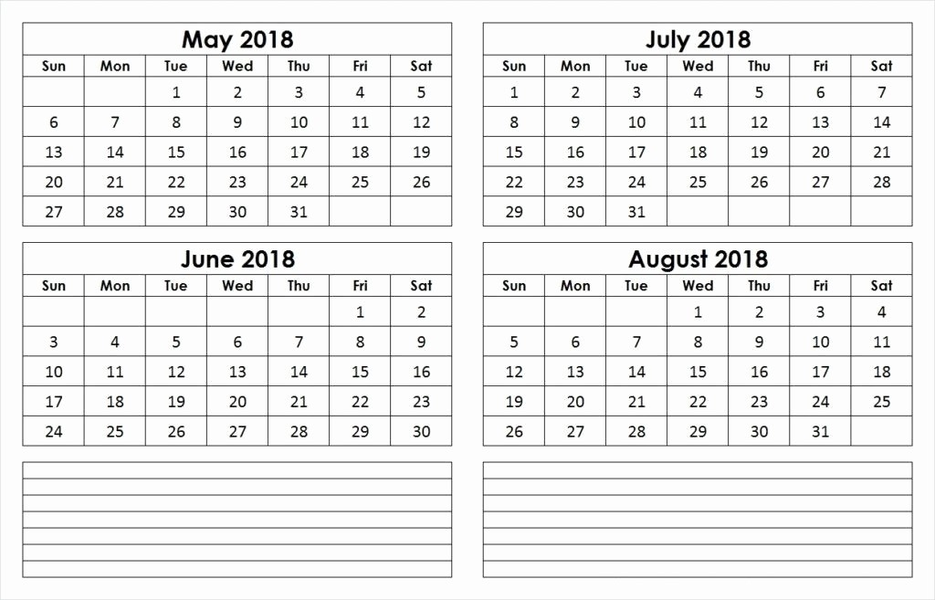 2018 Four Month Calendar Template Lovely May to August 2018 Calendar 4 Month Calendar Template