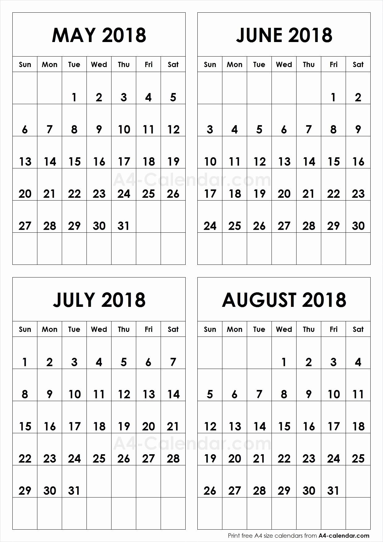 2018 Four Month Calendar Template Luxury Aug 2018 A4 Calendar Printable – Calendar Printable