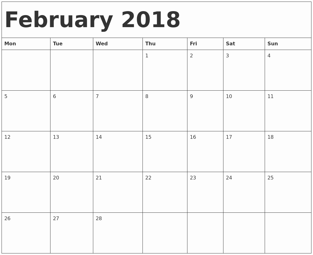 2018 Four Month Calendar Template Luxury February 2018 Calendar Template