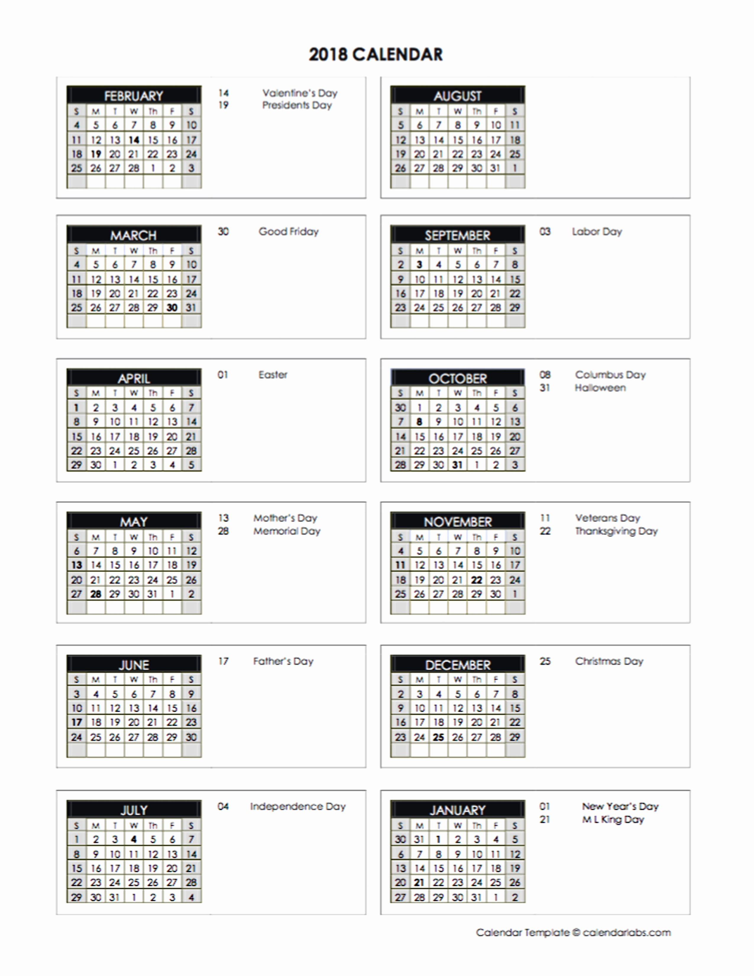 2018 Four Month Calendar Template New 2018 Accounting Month End Close Calendar Free Printable